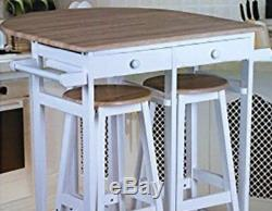 Small Kitchen Dining Table And 2 Stools Chairs Set Wooden White Breakfast Bar