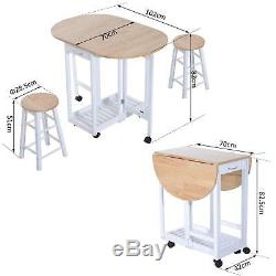 Small Kitchen Dining Table and Chairs Set Folding Island Trolley Wheels 2 Stools