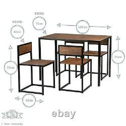 Small Kitchen Table and 4 Chairs Dining Room Industrial Compact Space Saving Set