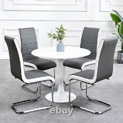 Small Round Dining Table and 2/4 Chairs Faux Leather Chrome Legs Kitchen Home
