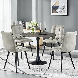 Small Round Dining Table and 4 Faux Suede Fabric Chairs Black Legs Kitchen Sets
