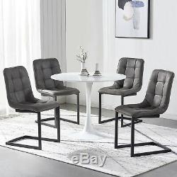 Small Round Dining Table and 4 Microfiber Faux Suede Chairs Chrome Kitchen Sets