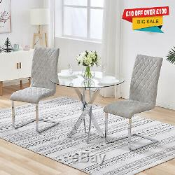 Small Round Glass Dining Table Set and 2 Chairs Faux Leather Kitchen Office Home