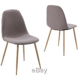 Small Round White Dining Table set &4 Seats Retro Fabric Chairs Wood Metal Legs