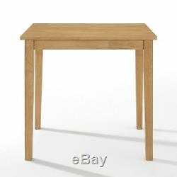 Small Solid Wooden Dining Table and 2 Chairs Set in Oak Finish Kitchen