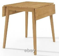 Small Solid Wooden Drop Leaf Dining Table and 2 Chairs Set in Oak Finish Kitchen