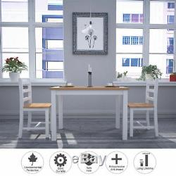 Solid Dining Table Set and 4 Chairs Seater Furniture Kitchen Garden Living Room