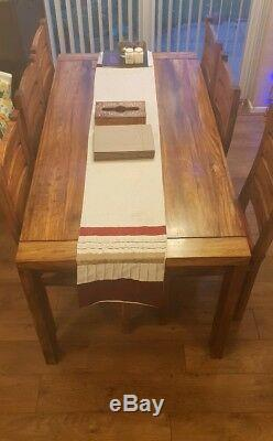 Solid Mango Wood Dining Table and 6 Chairs Collection Only