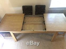 Solid Oak Dining Table and 6 Chairs Extendable To 8 Seatings