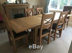 Solid Oak Dining Table (extendable) and 8 chairs