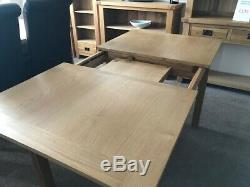 Solid Oak Extending Dining Table And Four Shirley Solid Oak Chairs 120/150CM