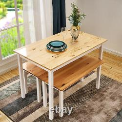 Solid Wood Dining Table and Chairs Bench Set Kitchen Dining Room Home Furniture