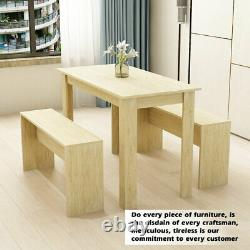 Solid Wood Dining Table and Chairs Set 2 Benches Kitchen Kid Furniture Dining Ro