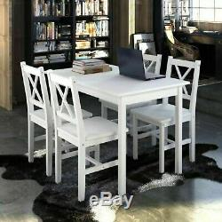 Solid Wood Dining Table and Chairs Set 4 Wooden Kitchen Dining Room Furniture