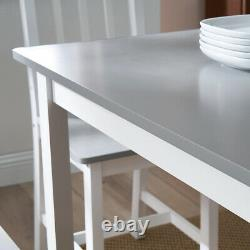 Solid Wood Grey Dining Table and 4 Chairs Set Dining Room Kitchen Home Furniture