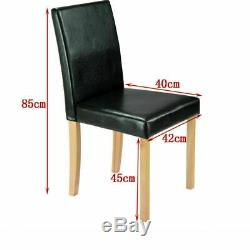 Solid Wooden Dining Table and 4 / 6 Faux Leather PU Chairs Set Kitchen UK stock