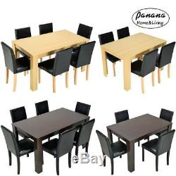 Solid Wooden Dining Table and 4 / 6 PU Faux Leather Dining Chair Set Kitchen New