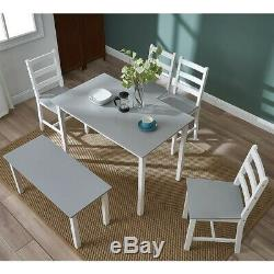 Solid Wooden Dining Table and 4 Chairs Bench Set Home Kitchen Room Furniture