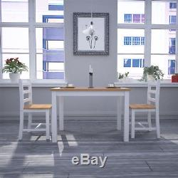 Solid Wooden Dining Table and 4 Chairs Set Kitchen Home Garden Furnitures Yellow