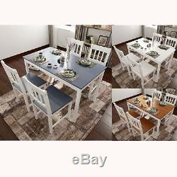 Solid Wooden Dining Table and 4 Chairs Set Modern Kitchen Space Saving Furniture