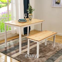Solid Wooden Dining Table and Chairs Bench Set Kitchen Home Furniture White
