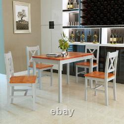 Solid Wooden Dining table and 4 chairs Set Dining Room Home Kitchen Furniture