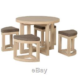 Sonoma Oak Veneer Round Stowaway Dining Table And Chair Set