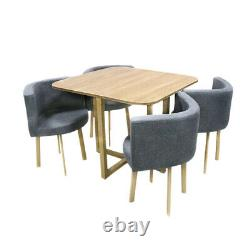 Space Saving Dining Table and 4 Dining Chair Set Living Room Kitchen Home UK