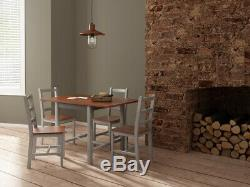 Space-saving Solid Wooden Grey Compact Dropleaf Dining Table and 4 Chairs Set