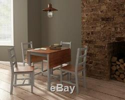Space-saving Solid Wooden Grey Compact Dropleaf Dining Table and 4 Chairs Set UK