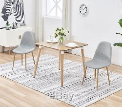Square Dining Table and 4 Grey Chairs Fabric Seat Kitchen Room Office Wood Desk