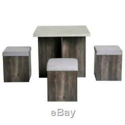 Stowaway Dining Set Table And 4 Chairs Stools Compact Space Saver Wooden Kitchen
