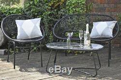 String Garden Outdoor Furniture Sofa Chair and Coffee Table Set Black