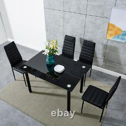 Stunning Black Glass Dining Table and 4 Chairs Set Dining Kitchen Room 2 Sizes