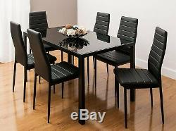 Stunning Glass All Black Dining Table Set And 6 Faux Leather Black Chairs