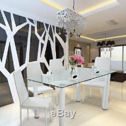 Stunning Glass Dining Table Set And 6 Faux Leather Chairs Dinning Room Home New