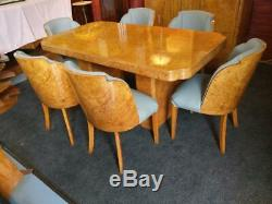 Stunning Hille/Epstein Art Deco Birdseye maple dining table and chairs1930