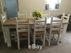 Stunning, Rustic, Farmhouse Dining Table And 8 Chunky Chairs