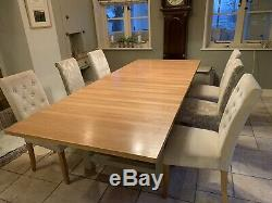 Super Extending solid oak dining table and 6 chairs Bought for £1200