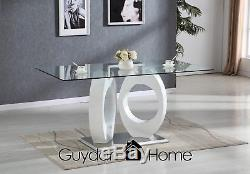 TORINO White High Gloss Glass Dining Table Set And 6 Leather Chairs