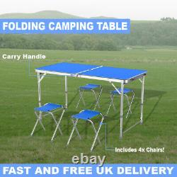 Table Set 4 Chair Folding Kitchen Portable Camping Dining Garden Outdoor Picnic