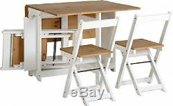 Table and 4 Chairs Wooden White Folding Dining Set Extending Space Saving Small