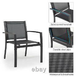 Table and Chairs Set Patio Outdoor Garden Rectangle Furniture 4 Piece Black