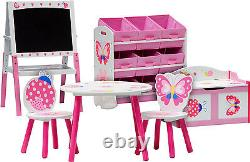 Table and chairs with chestbench shelf board PAPILLON Wooden Set Kid Toybox
