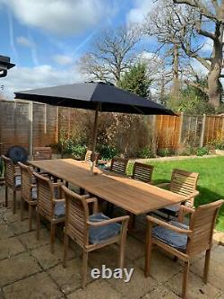 Teak Garden Furniture 10 Seater Double Extending Table And Chair Patio Set