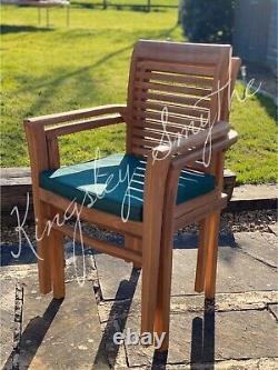 Teak Garden Furniture 6 Seater Extending Table And Chair Set With Cushion