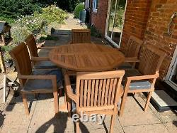 Teak Garden Furniture 6 Seater Round Extending Table And Chair Set With Cushion