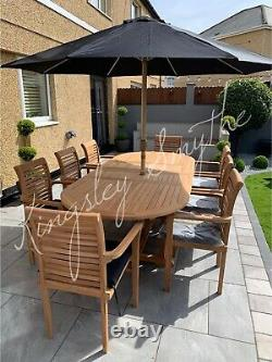 Teak Garden Furniture 8 Seater Double Extending Table And Chair Set