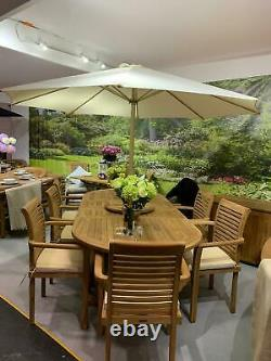 Teak Garden Furniture 8 Seater Double Extending Table And Chair Set With Cushion