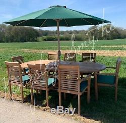 Teak Garden Patio Furniture 8 Seater Single Extending Table And Chair Set
